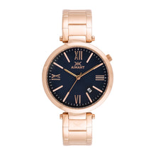 women's bora rose gold blue watch