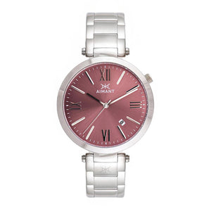 bora silver burgundy women's watch