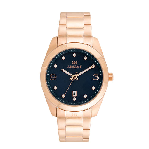 brooklyn rose gold blue women's watch