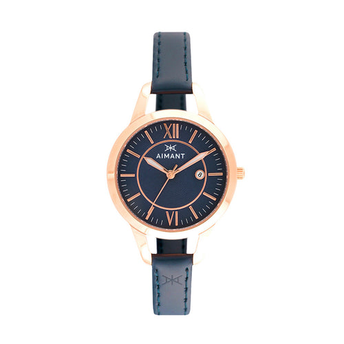 kyoto rose gold blue watch for women