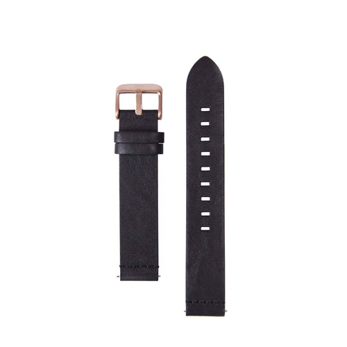 18MM - Black Leather Rose Gold Buckle