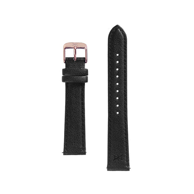 18MM - Black Leather / Rose Gold Buckle