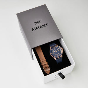 blue brown watch set for women