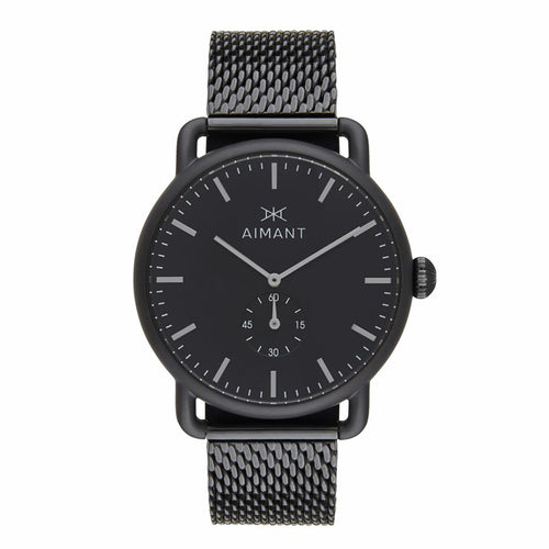 mykonos black stainless steel men's watch