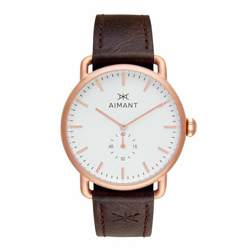 mykonos rose gold brown watch for men