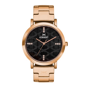 paris rose gold black women's watch