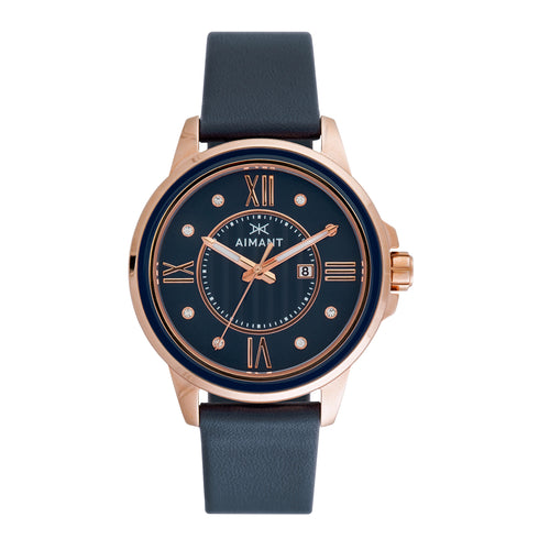 sydney rose gold blue watch for women