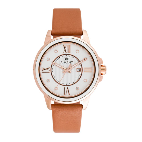 sydney rose gold camel watch for women