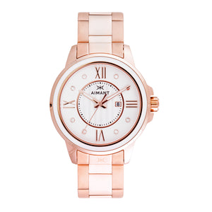sydney rose gold white watch for women