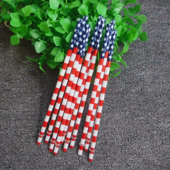 Hard Plastic Flag Drinking Straws - Reusable - Lot of 10