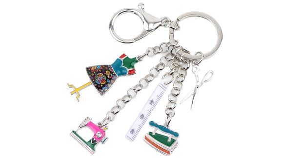 Enameled Sewing Charm Key Chain