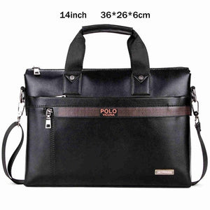 VICUNO POLO Fashion Simple Dot Famous Brand Business Men Leather Laptop Bag