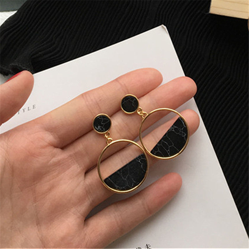 Handmade Fashion Geometric Circular Marble Eearrings