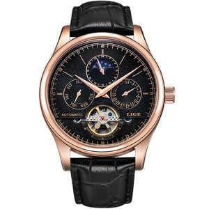 Men Automatic Mechanical Watch Tourbillon Sport Clock Leather