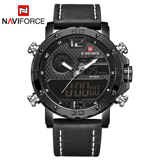 Mens Luxury Brand Men Leather NAVIFORCE Sports Watch