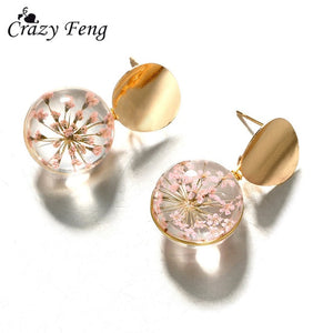 Transparent Ball Earrings Gold Color