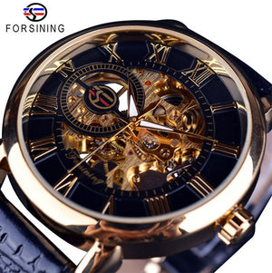 Forsining 3D Hollow Engraving Black Gold Case Leather Skeleton Mechanical Watche