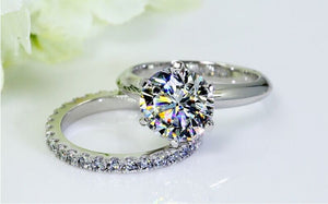 White Gold color Sona Simulated Gem Wedding Ring