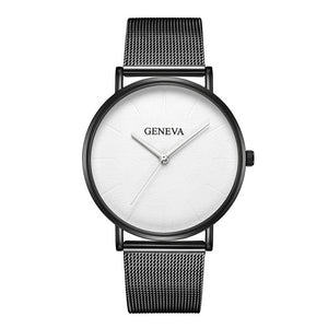 Geneva Women/Men Luxury Stainless Steel Mesh Quartz Wrist Watch