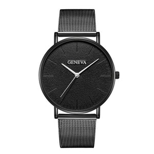Women Men Luxury Stainless Steel Mesh Quartz Wrist Watches