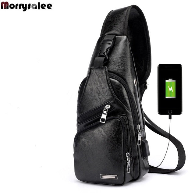 Men's Crossbody Bags with USB - Chest Bag