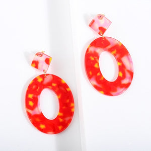 Acrylic Resin Oval Dangle Earrings For Women