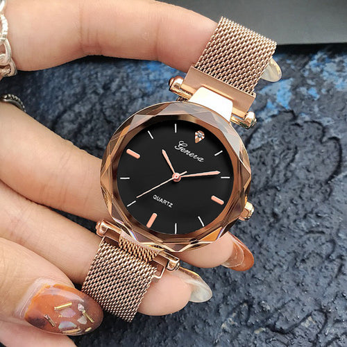 Luxury Rose Gold Women Crystal Watch