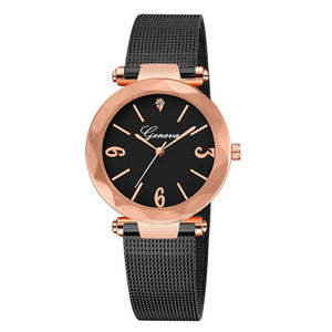 Gold Crystal Female Stainless Steel Mesh Quartz Wrist Watch