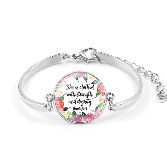 Psalm Bracelet  Art Picture Print Glass Dome Charms Bracelet