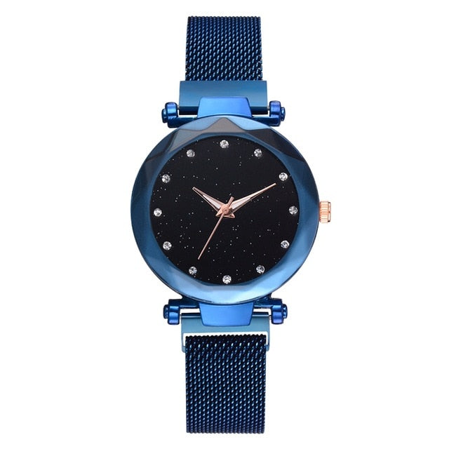 Gold Mesh Magnet Buckle Starry Quartz Women Watch