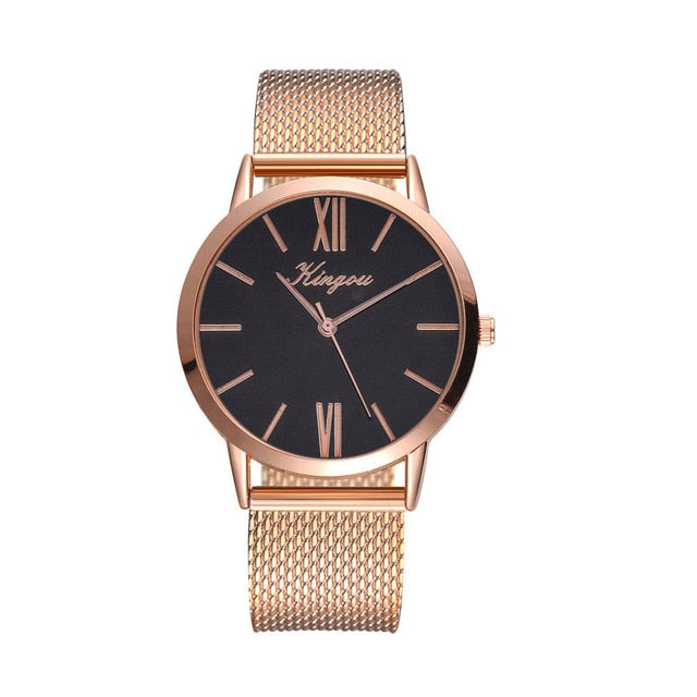 Rose Gold Sliver Mesh Stainless Steel Dail Women Watches