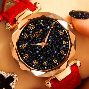 Star Sky Dial Clock Luxury Rose Gold Women's Bracelet Quartz Wrist Watche