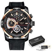 Load image into Gallery viewer, Latest LIGE Casual Leather Quartz Clock Male Waterproof Watch
