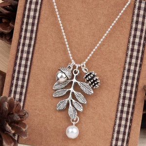 Wicked Wonders VIP Bling Bling Set Acorns in Fall White Necklace & Earrings Set Affordable Bling_Bling Fashion Paparazzi