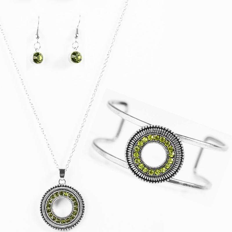 Wicked Wonders VIP Bling Bling Set Bling the Noise Green Rhinestone Set Affordable Bling_Bling Fashion Paparazzi