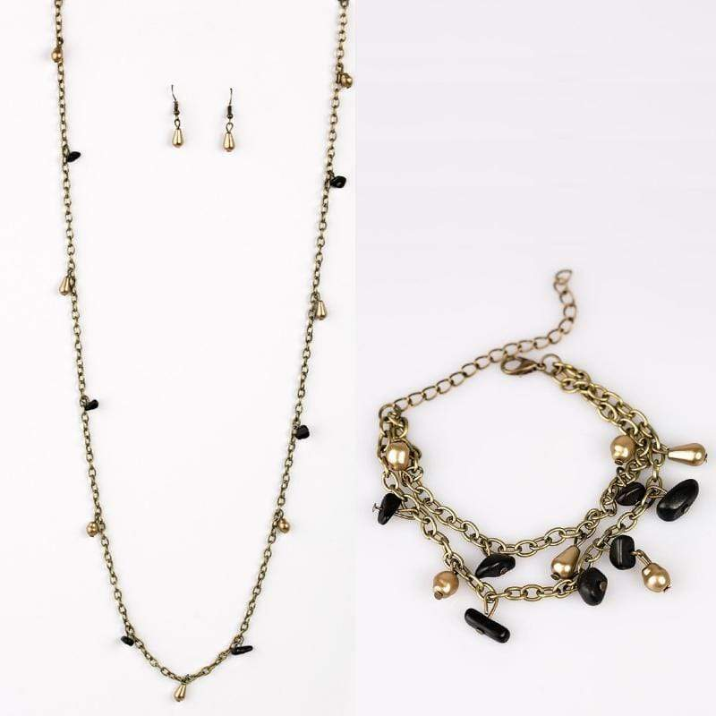 Wicked Wonders VIP Bling Bling Set Canyon Cabaret Brass & Black Set Affordable Bling_Bling Fashion Paparazzi