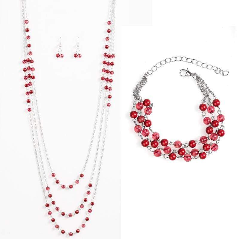 Wicked Wonders VIP Bling Bling Set Color My World Red Set Affordable Bling_Bling Fashion Paparazzi