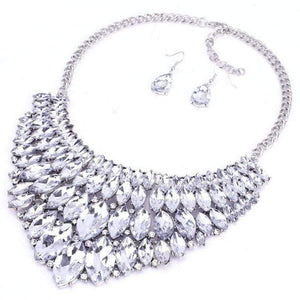 Wicked Wonders VIP Bling Bling Set Getting to the Point White Crystal Statement Necklace & Earrings Affordable Bling_Bling Fashion Paparazzi