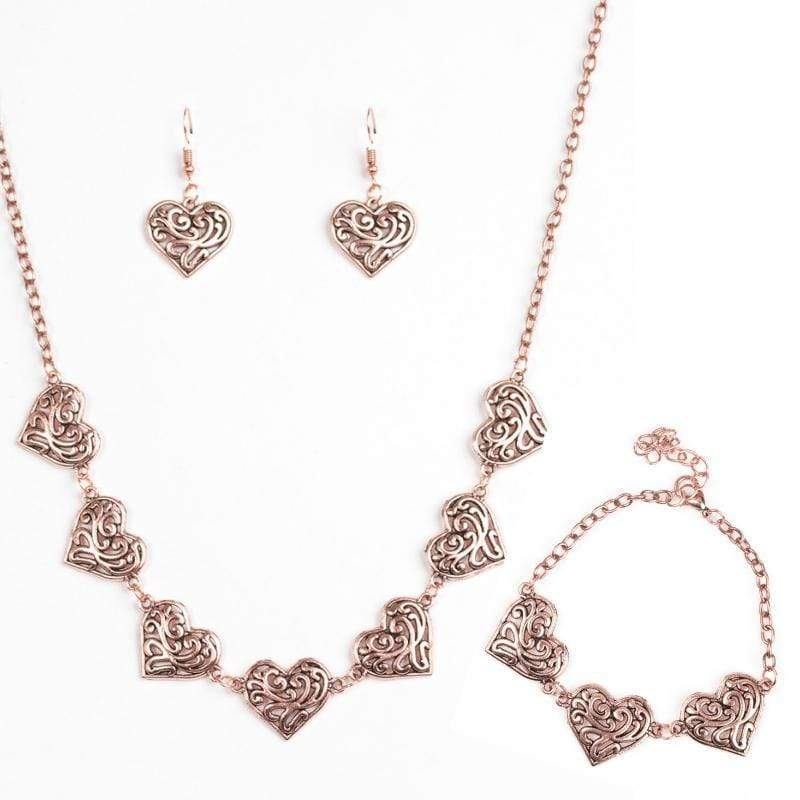 Wicked Wonders VIP Bling Bling Set Heart Heaven Copper Heart Set Affordable Bling_Bling Fashion Paparazzi