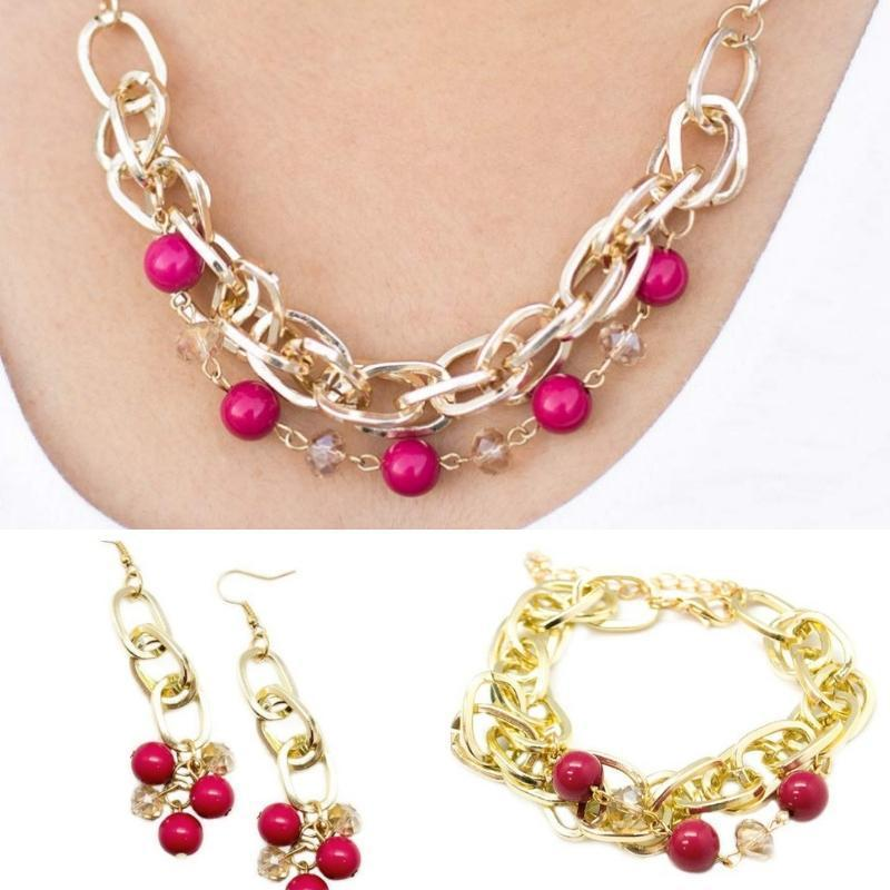 Wicked Wonders VIP Bling Bling Set Luck Be a Lady 3-Piece Pink Set Affordable Bling_Bling Fashion Paparazzi