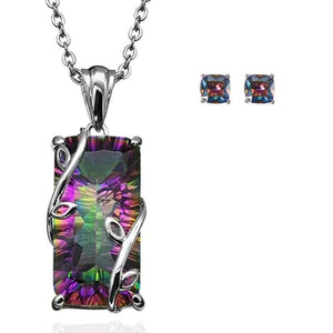 Wicked Wonders VIP Bling Bling Set Rainbows on Fire Rainbow Topaz Necklace and Earrings Set Affordable Bling_Bling Fashion Paparazzi