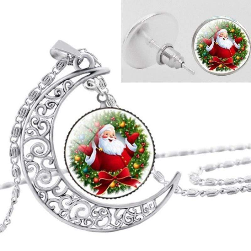 Wicked Wonders VIP Bling Bling Set Santa Baby Glass Necklace and Earrings Set Affordable Bling_Bling Fashion Paparazzi