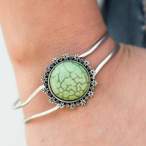 Wicked Wonders VIP Bling Bracelet A Floral Compass Green Hinged Cuff Bracelet Affordable Bling_Bling Fashion Paparazzi