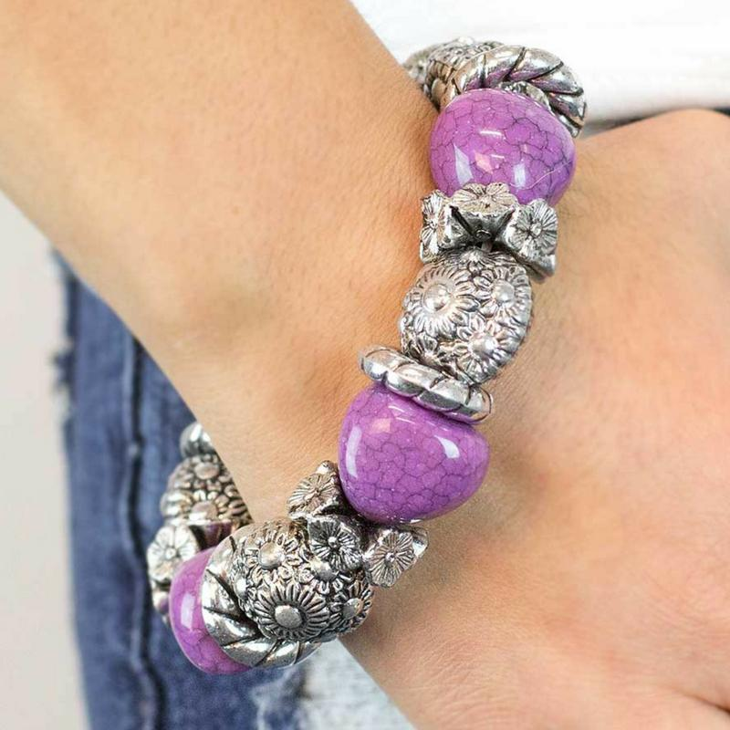 Wicked Wonders VIP Bling Bracelet A La Mode Purple Stretchy Bracelet Affordable Bling_Bling Fashion Paparazzi