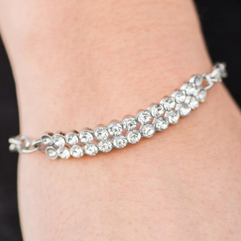 Wicked Wonders VIP Bling Bracelet All Bravado Silver and White Rhinestone Bracelet Affordable Bling_Bling Fashion Paparazzi
