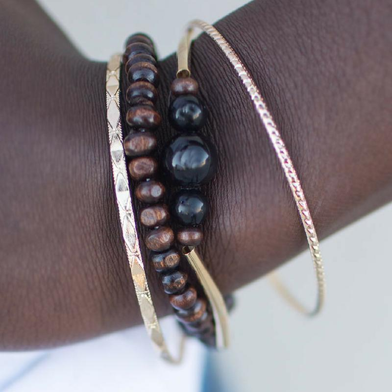 Wicked Wonders VIP Bling Bracelet All Or Nothing Black-Brown-Gold Bracelet Set Affordable Bling_Bling Fashion Paparazzi