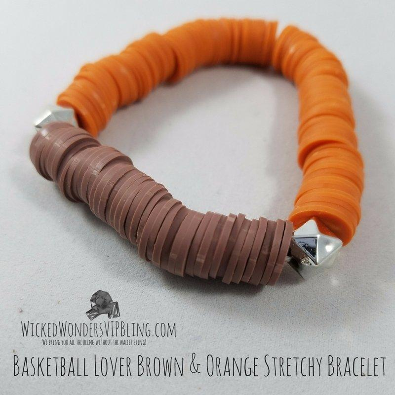 Wicked Wonders VIP Bling Bracelet Basketball Lover Brown & Orange Stretchy Bracelet Affordable Bling_Bling Fashion Paparazzi