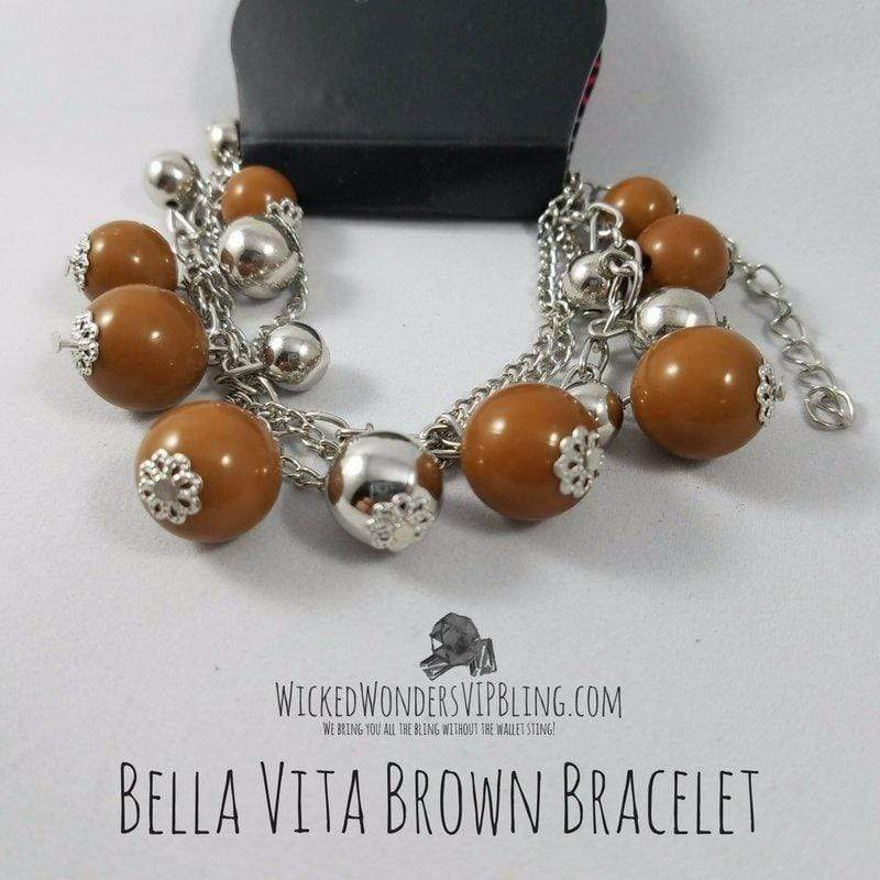 Wicked Wonders VIP Bling Bracelet Bella Vita Brown Bracelet Affordable Bling_Bling Fashion Paparazzi