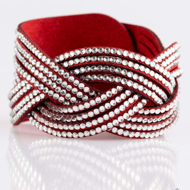 Wicked Wonders VIP Bling Bracelet Big City Shimmer Red Snap Closure Bracelet Affordable Bling_Bling Fashion Paparazzi