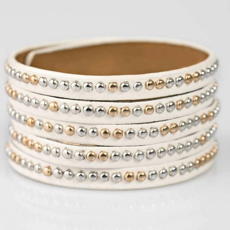 Wicked Wonders VIP Bling Bracelet Big Hitter White Snap Closure Bracelet Affordable Bling_Bling Fashion Paparazzi